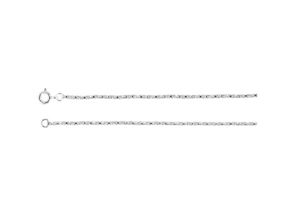 1.45mm Sterling Silver Twisted Box Chain - Sterling Silver 1.45mm Twisted Box 7