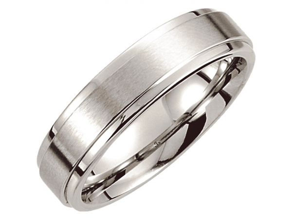 6mm Wedding Band - Polished Cobalt 6mm Engravable Wedding Band