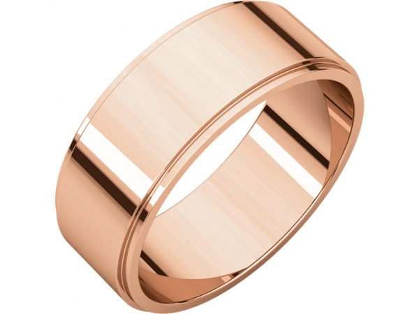 7mm Wedding Band - 10K Rose Gold 7mm Engravable Wedding Band