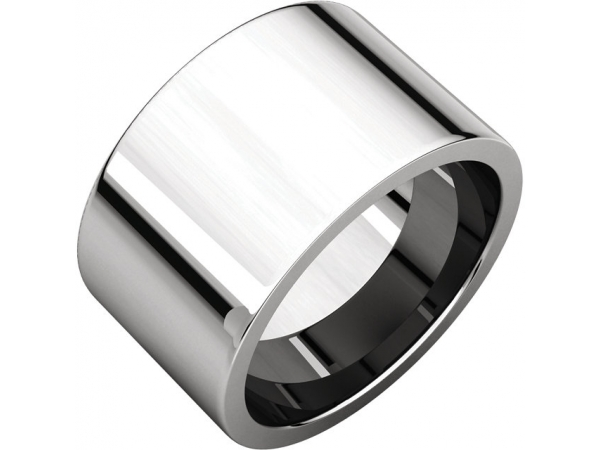 Flat Comfort-Fit Bands - Platinum 12mm Flat Comfort-Fit Band