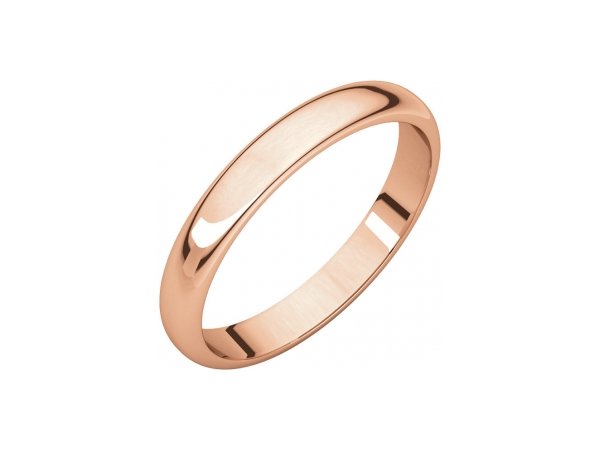 3mm Wedding Band - 14K Rose Gold 3mm Engravable Wedding Band