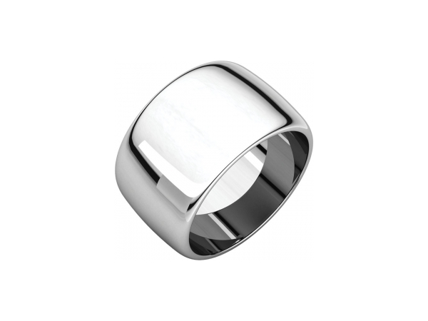 12mm Wedding Band - 10K White Gold 12mm Engravable Wedding Band