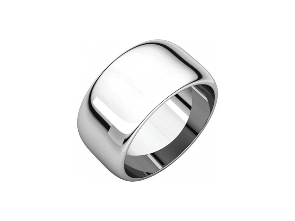 10mm Wedding Band - 14K White Gold 10mm Wedding Band