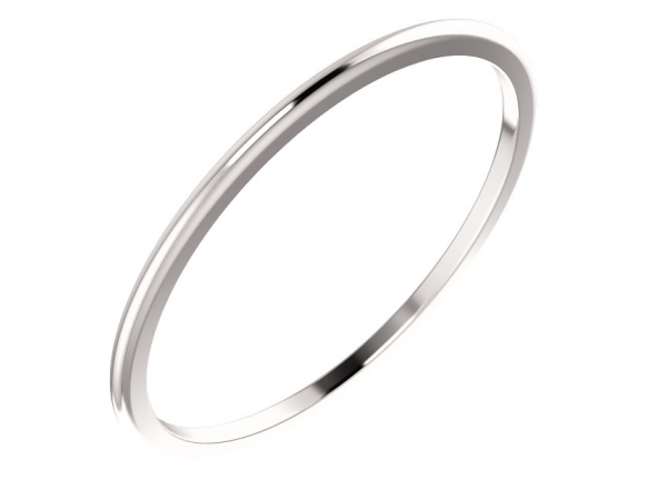1mm Wedding Band - 18K White Gold 1mm Wedding Band