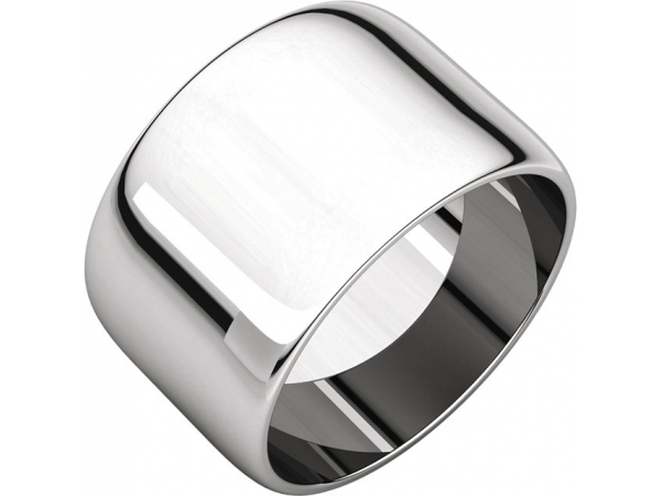 12mm Wedding Band - 14K White Gold 12mm Engravable Wedding Band