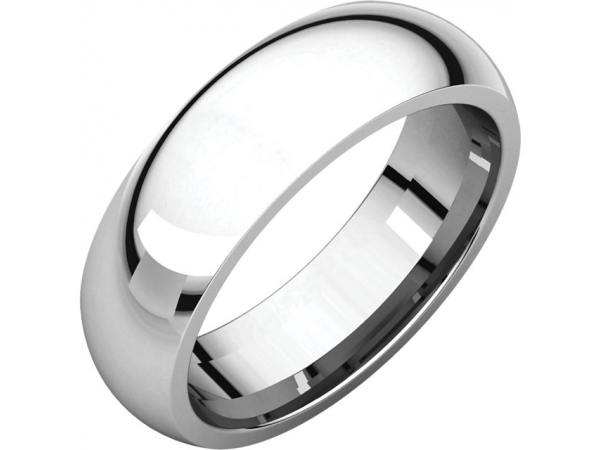 6mm Wedding Band - Sterling Silver 6mm Comfort Fit Wedding Band