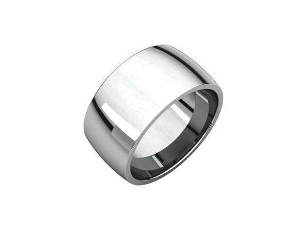12mm Wedding Band - 10K White Gold 12mm Comfort Fit Engravable Wedding Band