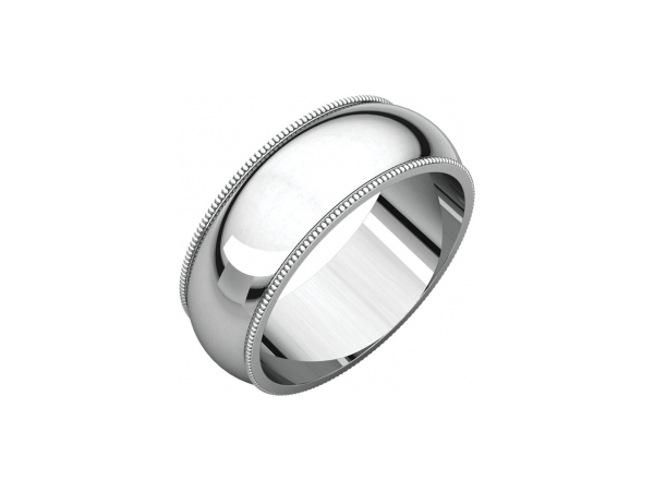 7mm Wedding Band - 18K White Gold 7mm Wedding Band Milgrain