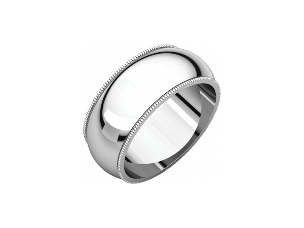 12mm Wedding Band - Sterling Silver 12mm Engravable Wedding Band Milgrain