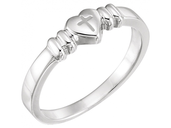 Heart with Cross Chastity Ring by Stuller