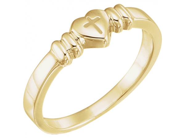 Diamond Fashion Rings - Heart with Cross Chastity Ring