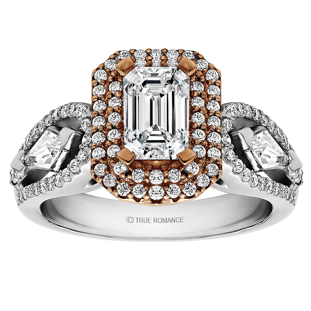 Emerald Cut Double Halo Engagement Ring - An elegant design this diamond engagement ring showcases a prong-set diamond double halo that crowns the center stone. This style accommodates various center stone sizes & shapes. Available in Platinum as well as 18K and 14K White Yellow or Rose Gold. Priced as shown 0.73cts 14K White/Rose Gold