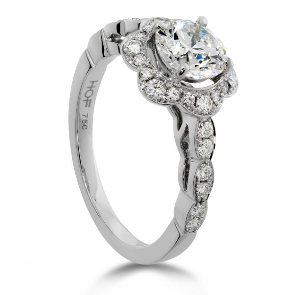 Hearts On Fire Lorelei - 18k wht .95-1.15ct tw Lorelei Floral Engagement Ring by Hearts On Fire, center=HOF131574 .702ct