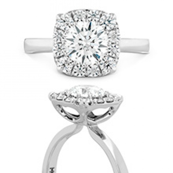 Hearts On Fire - 18kw HOF Signature Custom Halo engagement ring, .40-.57cttw, HOF144957 .328ct VS1/SI1, I/J