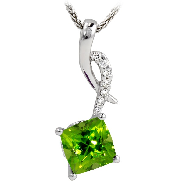 Peridot Diamond 1/32Tw - Peridot Diamond 1/32Tw On Chain 14K White Gold Pendant