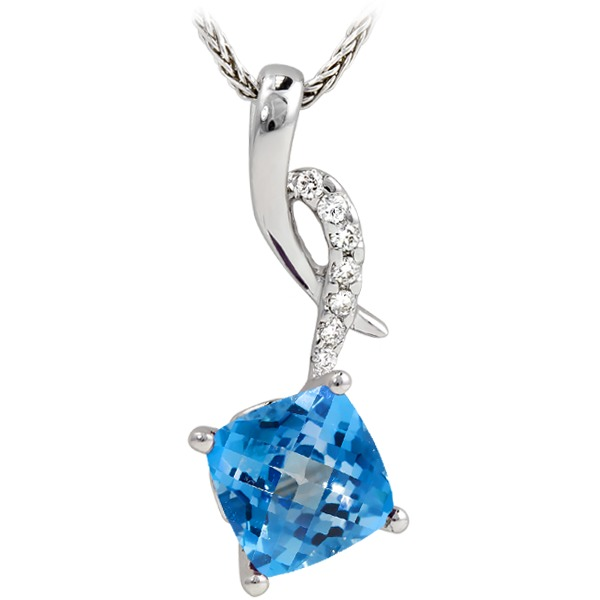 Blue Topal Diamond 1/32Tw - Blue Topaz Diamond 1/32Tw On Chain 14K White Gold Pendant