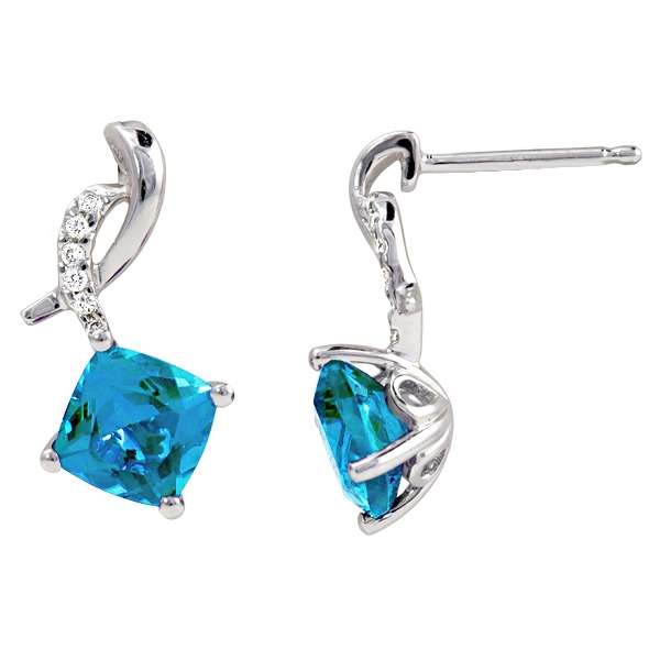 Blue Topal Diamond .06Tw - Blue Topaz Diamond .06Tw 14K White Gold Earring