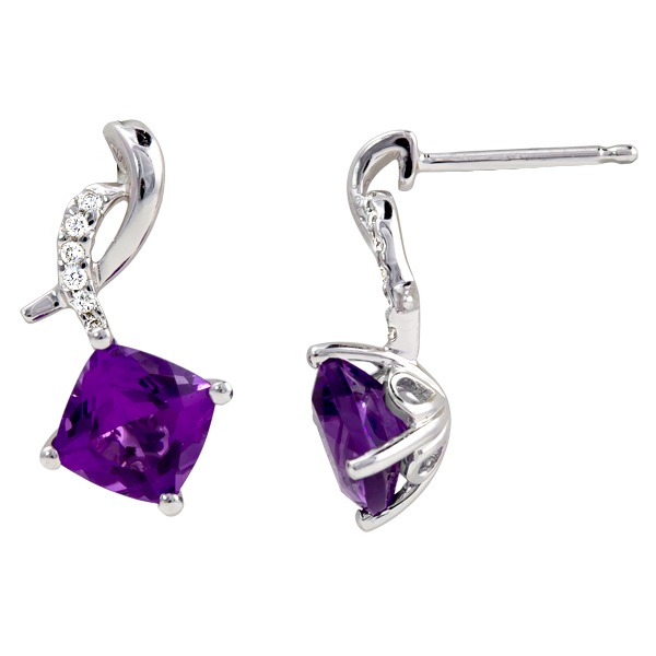 Amethyst Diamond 1/12Tw - Amethyst Diamond 1/12Tw 14K White Gold Earring
