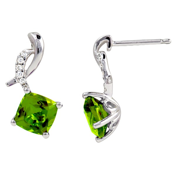 Peridot Diamond .06Tw - Peridot Diamond .06Tw 14K White Gold Earring