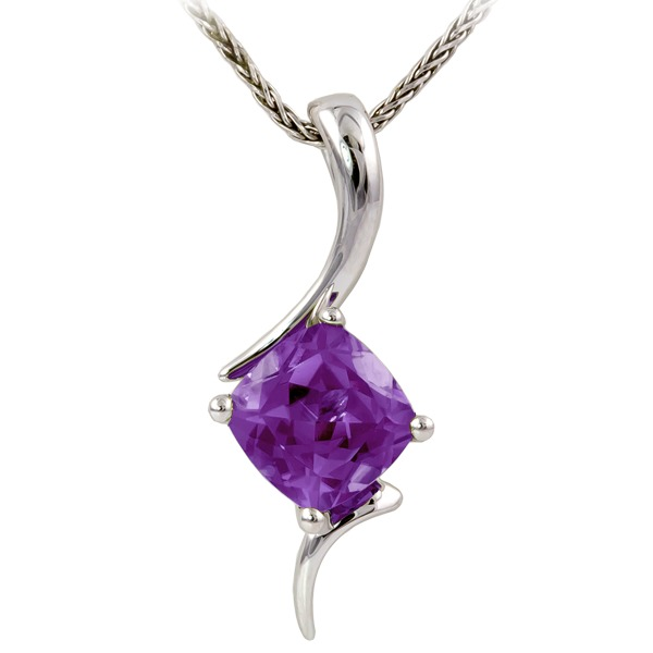 Amethyst Pendant - Amethyst On Chain Chain 14K White Gold Pendant