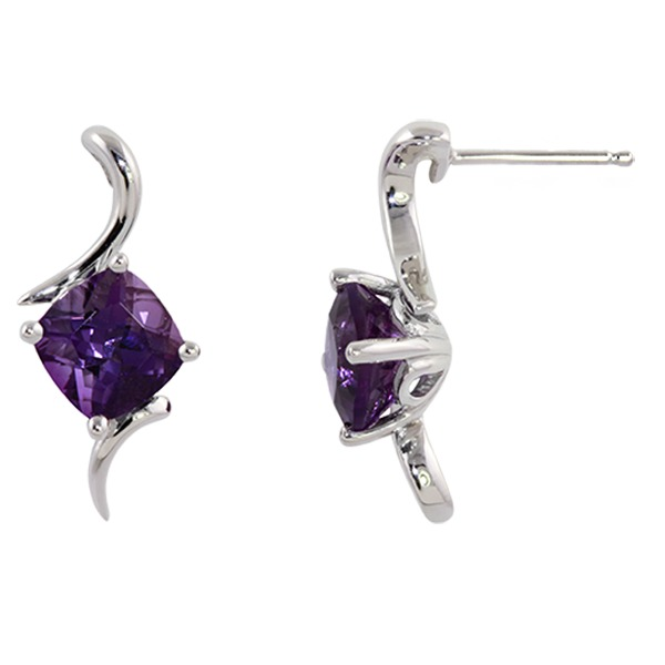 Amethyst Earrings - Amethyst 14K White Gold Earring