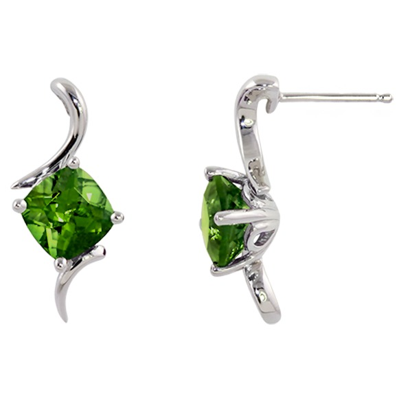 Peridot Earrings - Peridot 14K White Gold Earring