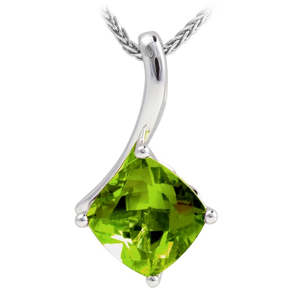 Peridot Pendant - Peridot On Chain 14K White Gold Pendant