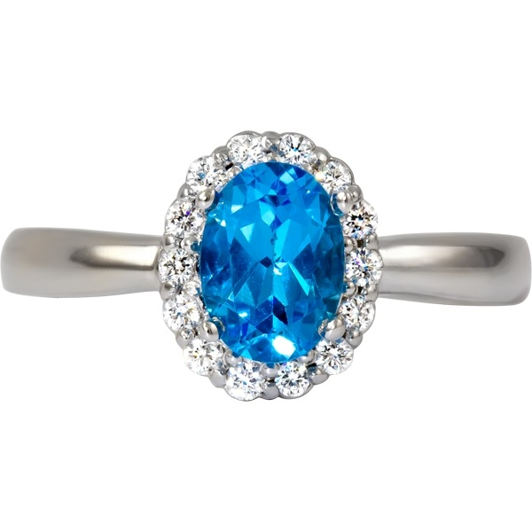 Rings - Blue Toapaz and Diamond 1/7 tw