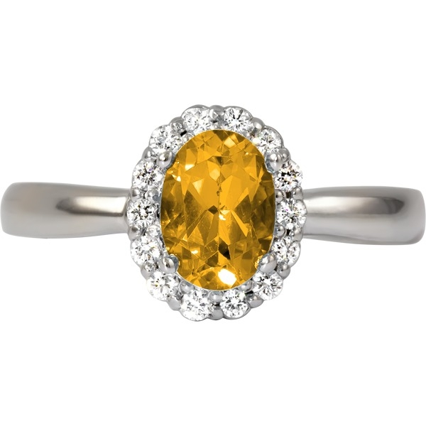Colored Gemstone Rings - Citrine and Diamond 1/7 tw - image #2