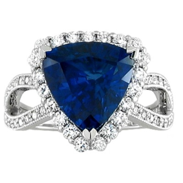 Sapphire and Diamond Ring - 18k white gold 4.68ct Sapphire and .59ct total weight Diamond Ring.