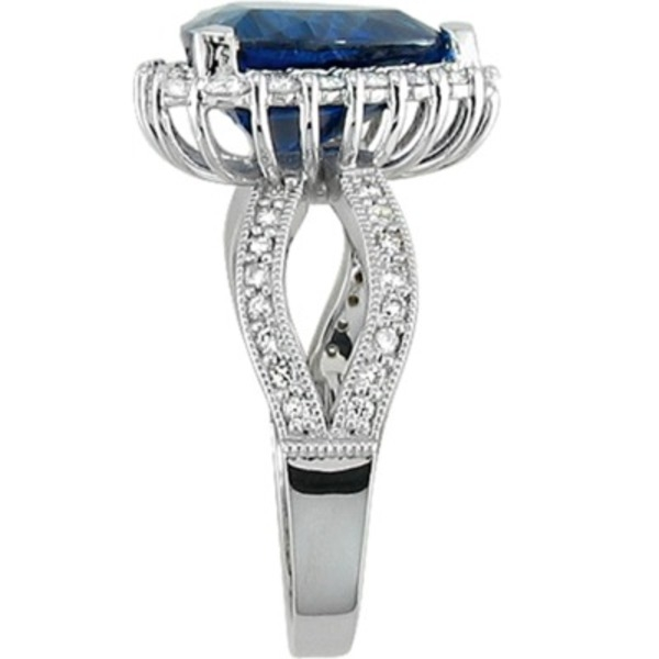 Colored Gemstone Rings - Sapphire and Diamond Ring - image #2