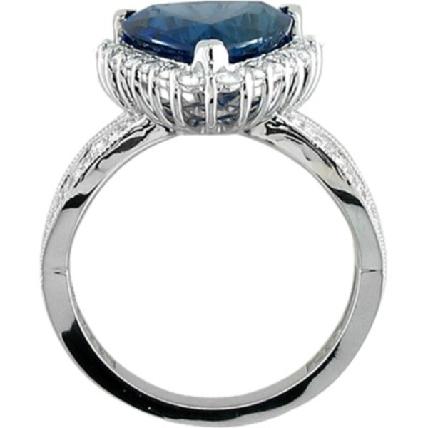 Colored Gemstone Rings - Sapphire and Diamond Ring - image #3