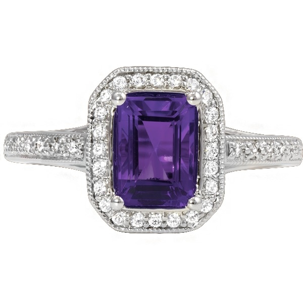 Colored Gemstone Rings - Amethyst and Diamond - image 2