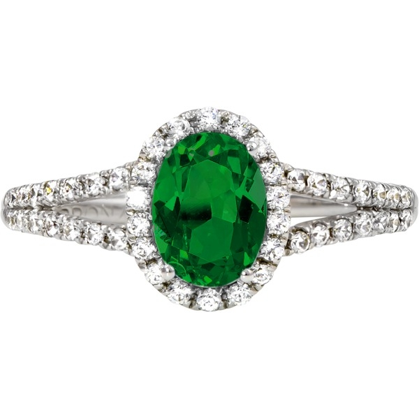 Colored Gemstone Rings - Emerald and Diamond - image #2