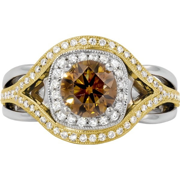 Diamond Ring - 14k white and yellow gold 1.30ct total weight diamond ring. Center diamond=1.02ct