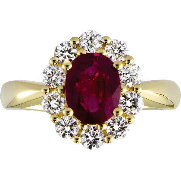 Ruby and Diamond - 14K Yellow Gold Ruby 1.18 Ct and Diamond .62 Tw