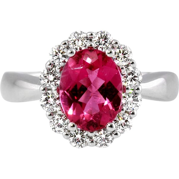 Ruby and Diamond - 18K White Gold Ruby 1.04 Ct and Diamond .49 Tw