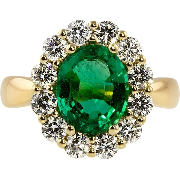 Emerald and Diamond - 14K Yellow Gold Emerald 2.11 Ct and Diamond .98 Tw