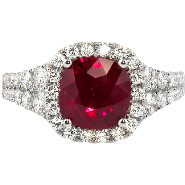Ruby and Diamond Ring - 18k white gold 2.44ct Ruby and .97ct tw Diamond Ring.