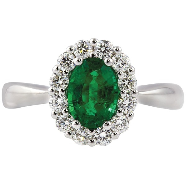 Emerald and Diamond - 14K White Gold Emerald .63 Ct and Diamond .37 Tw