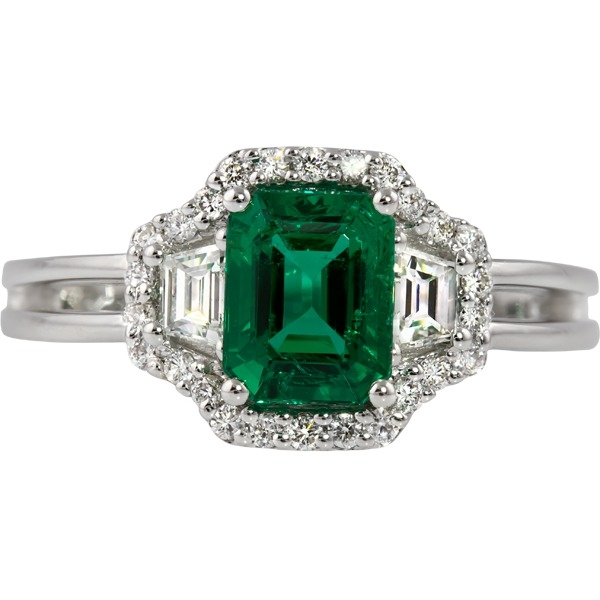 Colored Gemstone Rings - Emerald and Diamond