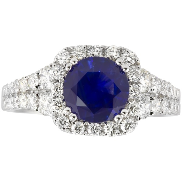 Sapphire and Diamond - 14K White Gold Sapphire 1.46 Ct and Diamond .94 Tw