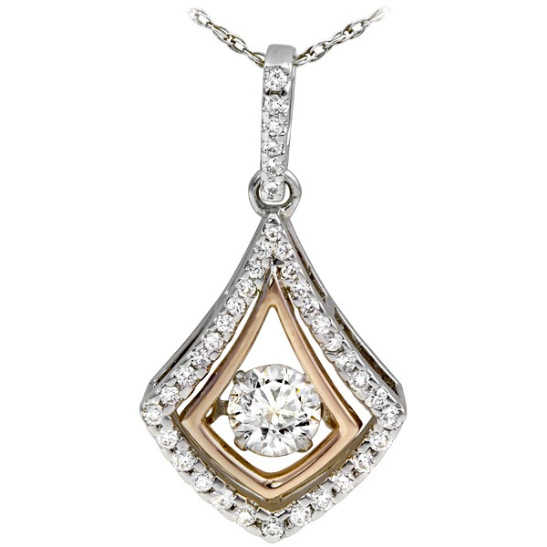 1 /2ct tw Diamond Pendant - 15k white and rose gold 1/2ct Diamonds In Motion pendant.