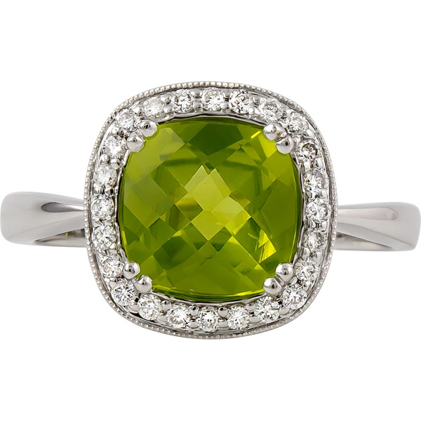 Peridot and Diamond Ring - 14k white gold Peridot and Diamond Ring. Diamonds=.16ct tw
