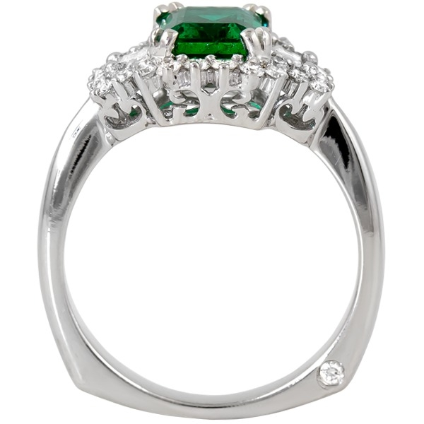 Colored Gemstone Rings - Emerald and Diamond Ring - image #2