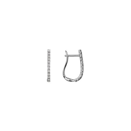 Diamond Hoop Earrings - 14k white gold .15ct total weight hinged hoop earrings.
