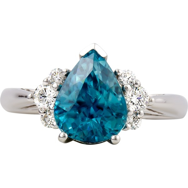 Blue Zircon and Diamond Ring - 14k white gold Blue Zircon and Diamond Ring. Blue Zircon=3.04ct Diamonds=.26ct tw
