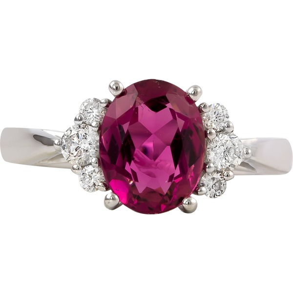 Pink Tourmaline and Diamond Ring - 14k white gold Pink Tourmaline and Diamond Ring. Tourmaline=2.30ct Diamonds=.24ct