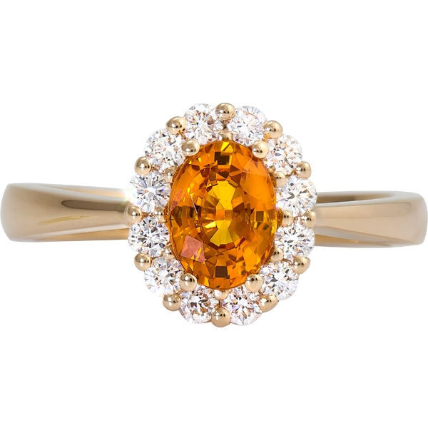 Orange Sapphire and Diamond Ring - 14k yellow gold Orange Sapphire and Diamond Ring. Sapphire=.98ct Diamonds=.35ct tw
