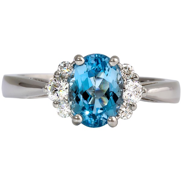 Aquamarine and Diamond Ring - 14k white gold Aquamarine and Diamond ring. Diamonds=.27ct tw Aquamarine=1.45ct